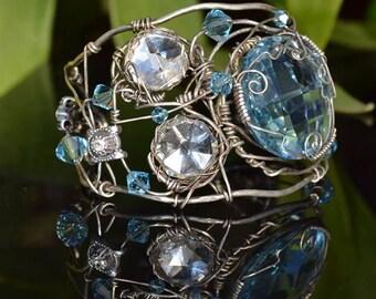 Cuff Bracelet Oxidized Silver Wire Swarovski Aqua Crystals