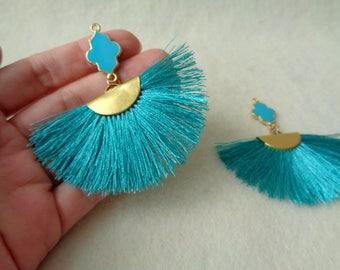 Emerald Fan Tassels, 2pcs, Jewelry Making Tassels, Flower Enamel Tassels, Silk Tassels, Handmade Tassels