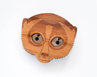Slow Loris Brooch. Primate Pin Badge. Statement Brooch. Laser Cut Wood. Nycticebus Badge. Eco Friendly Wood Brooch with acrylic bronze eyes