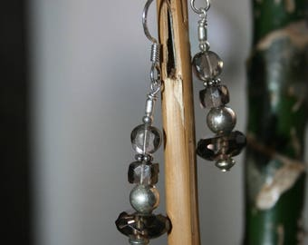 Faceted smoky quartz and silver gemstone earrings