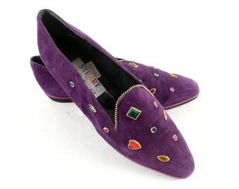 Vintage 80s Stuart by Stuart Weitzman Purple Suede Rhinestone Studded Flats Loafers Shoes 8 M