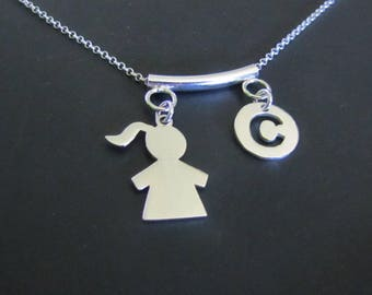 Personalized Girl Silhouette Necklace,  Initial Necklace, Sterling Silver Necklace, Charm Necklace, Jewelry, Gift for her