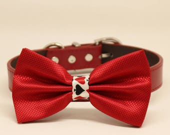 Red dog bow tie collar, Playing card, Leather collar, Alice in Wonderland, Puppy gift, poker