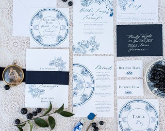 Blue and White china Watercolour Wedding Invitation & Packages   Custom Calligraphy Wedding   Wedding   French Blue Collection