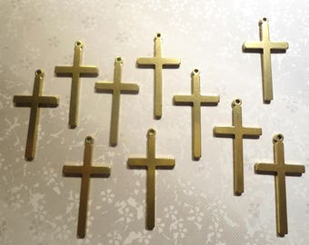 10 Vintage Brass 37mm Crosses