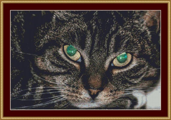 Green Eyes Cross Stitch Pattern /Digital PDF Files /Instant downloadable