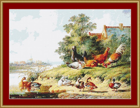 Birds At The River Cross Stitch Pattern /Digital PDF Files /Instant downloadable