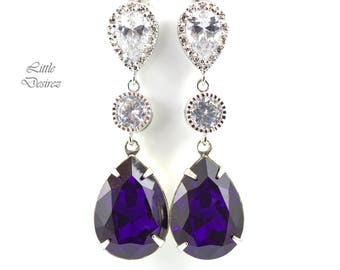 Purple Earrings Swarovski Earrings Bridesmaid Earrings Dark Purple Earrings Purple Velvet Crystal Deep Purple Earrings Eggplant Plum PV31PC