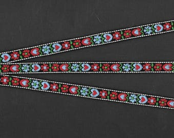 """HEARTS & FLOWERS 4-A Jacquard Ribbon Trim, Cotton, 1/2"""" Wide, Black Background with Red and Blue Hearts/Flowers, Priced Per Yard"""