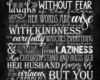 Scripture Art - Proverbs 31:25-30 Chalkboard Style