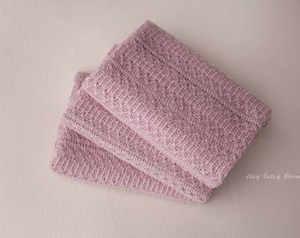 Newborn Stretch Wrap, Kennedy Newborn Wrap, Newborn Photo Prop, Dusty Rose Newborn Wrap, Textured Knit Wrap, Rose Stretch Knit Wrap, RTS