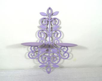 Vintage Hanging Candle Holder, Double candles, scroll designs candlestick holder, cast iron wall decor