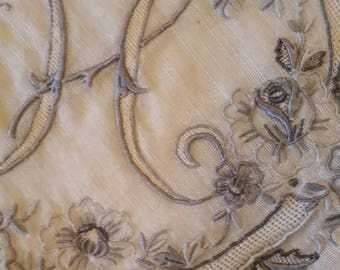 Gorgeous vintage handkerchief with embroidery and open work centering the letter H.