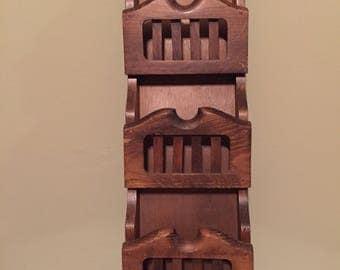 Vintage Wood Mail Organizer / Wood Wall Organizer / Mail Organizer