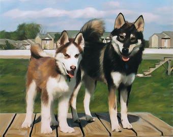 Husky Art Portrait on Canvas from Photo - Personalized Dog Painting - Dog Portrait - Dog Art