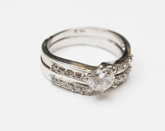 Sterling CZ Stacking ring - two complimentary rings - solitare ring matching band ring - cubic zirconia -size 8