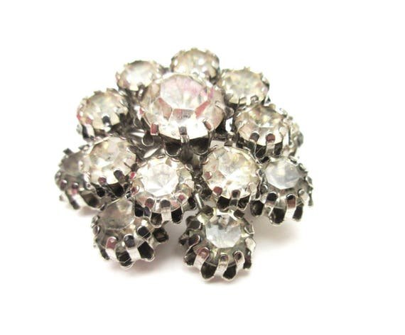 Atomic Rhinestone Brooch - Clear Ice crystal -domed layered - Mid century pin