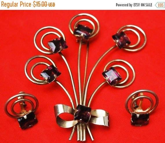 Flower Spray Brooch earring set gold fill amethyst glass pin and screw back earrings
