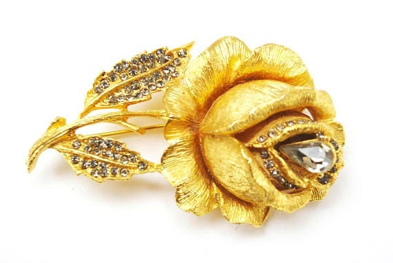 Rose Flower Brooch - Signed  Benedikt NY- Gold Metal - Topaz Rhinestone - floral Rose Pin