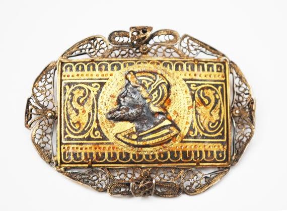 Damascene Spanish Soldier Cameo Brooch   - Gold  Black enamel  - Silver Filigree - Trombone Clasp  Vintage pin