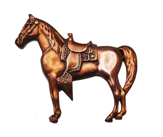 Western Horse  Brooch - Copper metal - Equestrian -  Southwestern Pin