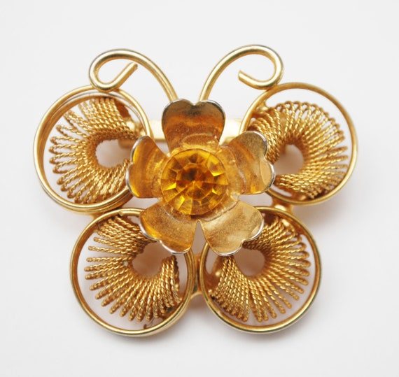 Butterfly Brooch - Orange Rhinestone - Gold coil  metal - Insect figurine pin