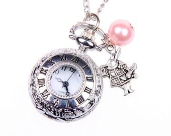 Alice in Wonderland Necklace, Alice in Wonderland Pocket watch, Rabbit watch, Rabbit Necklace