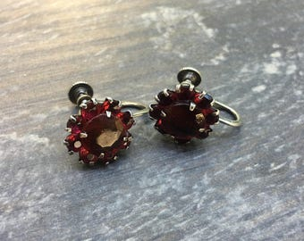 Gorgeous Vintage Sterling Screw backs Flower Stones Red