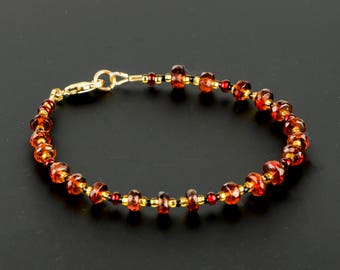 Faceted Deep Red Garnet Gemstone Bracelet, Handmade with AAA Quality Gems and 14K Gold Filled Clasp, Traditional Gift of Love