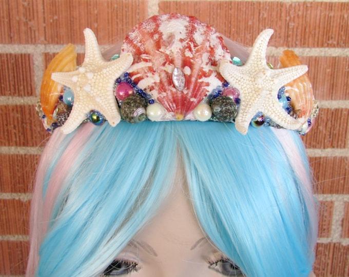 Mermaid Crown, Sea Shell Crown, Mermaid Headband, Mermaid Headpiece, Shell Crown, Mermaid Costume, Cosplay, Mermaid Tiara, Seashell Tiara