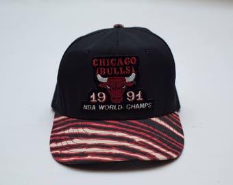 Vtg 1991 NBA World Champion Chicago Bulls Zubaz Snapback Hat
