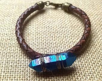 Wire wrapped Rainbow titanium quartz crystal point braided leather bracelet