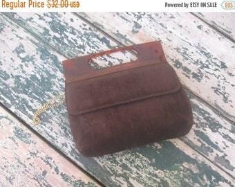 Summer Clearout Chocolate Brown Brushed Velvet Handbag// 1960's// Shoulder Strap