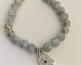 Beaded hamsa charm bracelet