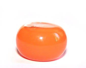 Globe flattened ball 20 x 15 mm opaque liquid filled glass ORANGE