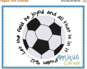 50% Off Soccer Ball with Bible Verse applique digital design for embroidery machine by Applique Corner