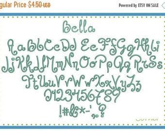 40% OFF 3440 Bella Embroidery Font in bx, pes, dst and jef digital design for embroidery machine by Applique Corner