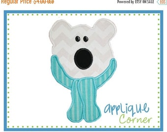 40% OFF INSTANT DOWNLOAD Polar Bear Face with Scarf applique design in digital format for embroidery machine by Applique Corner