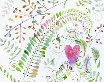 floral and heart original watercolor painting