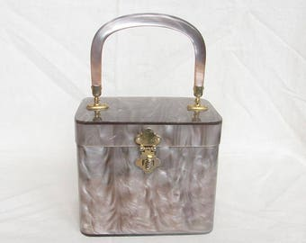 Vintage 1950s Lucite Purse STYLECRAFT MIAMI Box Bag Marbled Taupe Square Shape