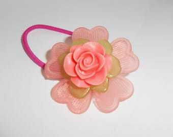 Pink Flower Pony Tail Elastic, Pony Tail Ties, Hair Accessories, Flower Girl Hair Accessory. Flower Hair Elastics,  PT232