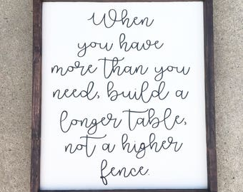 Build a longer table, not a higher fence  painted wood sign