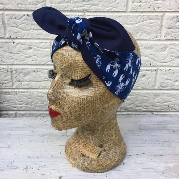 Navy Lobster Headscarf Rockabilly Pinup 1950's  Inspired