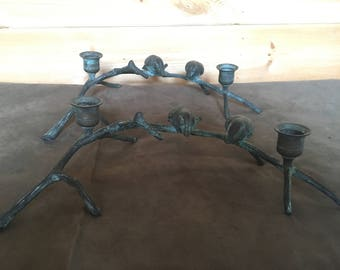 Vintage Bronze Bird Candlesticks, Birds on Branch Candlestick Set, Pair of Double Candle Holders for 4 Candles, Mid Century Modern Vintage