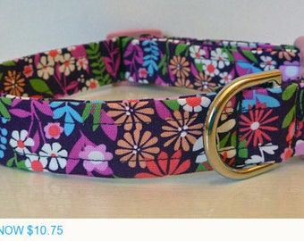 """Sale - 50% Off Dog Collar - Multi-Colored Floral Dog Collar """"Petunia"""" - Free Colored Buckles"""