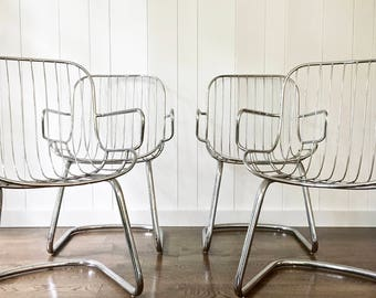 4 Chrome Dining Chairs Silver Metal Accent Chairs Mid Century Modern