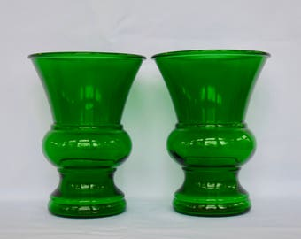 Pair of Vintage Green Glass Vases Napco Made in USA