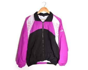 90s Nike Windbreaker Purple Black Zip Up Jacket Spell Out Women's Medium-Large Oversized