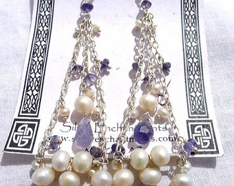 Iolite and Pearl Earrings, Sterling Silver Pearl and Water Sapphire Earrings, Long Dangling Chandelier Earrings - ER-106X