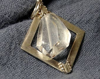 Gemstone necklace, sparkling Phantom Quartz nugget and Thai Hill Tribe silver pendant necklace,   Modern,